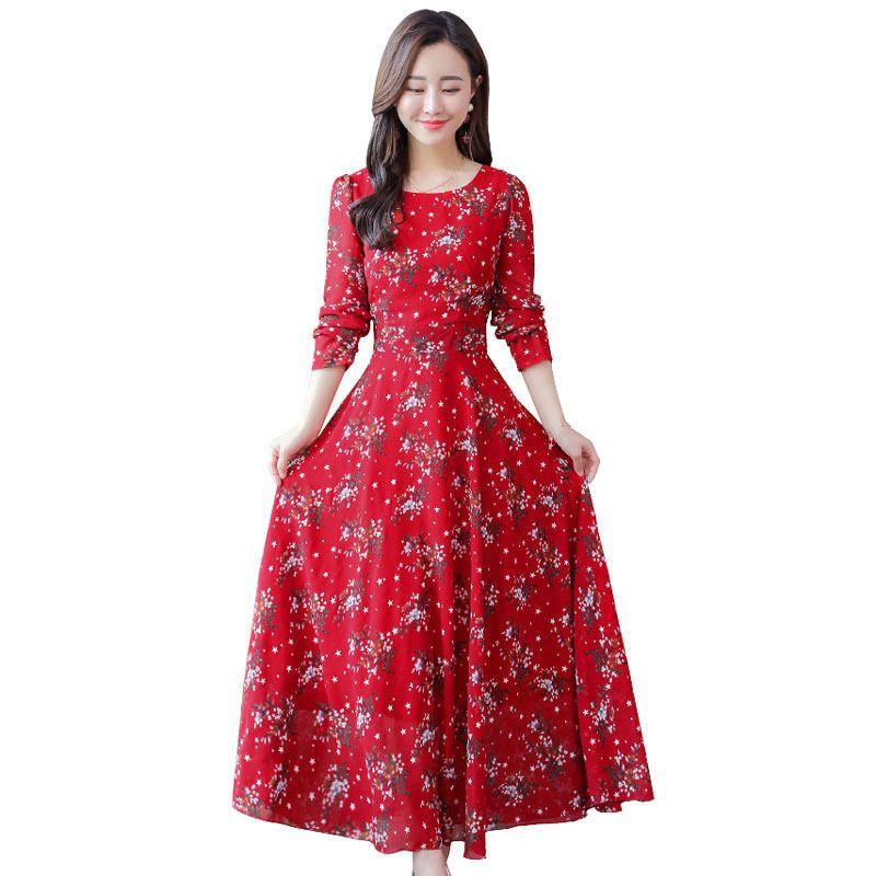 b70d184f62 Compre Vestido De Primavera Verano Ropa De Mujer Elegante Gasa De Impresión  Floral Vestidos Largos De Gran Tamaño 4XL Manga Larga Vestido De Fiesta En  La ...