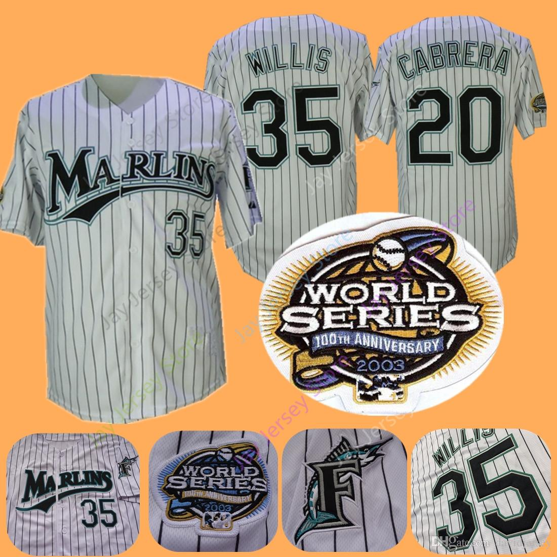 hot sale online e4973 3defd Florida Marlins Jerseys 2003 WS World Series 35 Dontrelle Willis 20 Miguel  Cabrera Jersey White Pinstripe