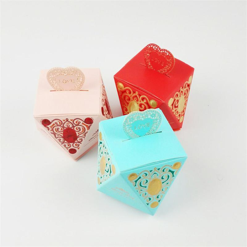 100pcs Diamonds Love Paper Boxes Candy Box Wedding Favors Gift Sweet Favour Holder Party Birthday Baby Shower Supply
