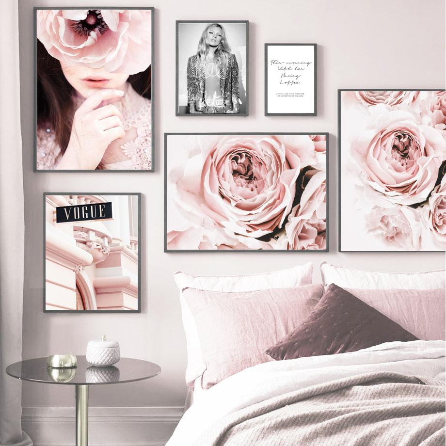 Pink Rose Flower Girl Pineapple Wall Art Print Canvas Painting Nordic Canvas Posters And Prints Immagini murali per soggiorno