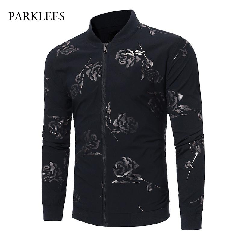 Mens Stylish Gold Rose Baseball Jacket Men 2018 Brand Black Stand Collar Casual Zipper Mens Jackets Rib Sleeve Floral Jaqueta