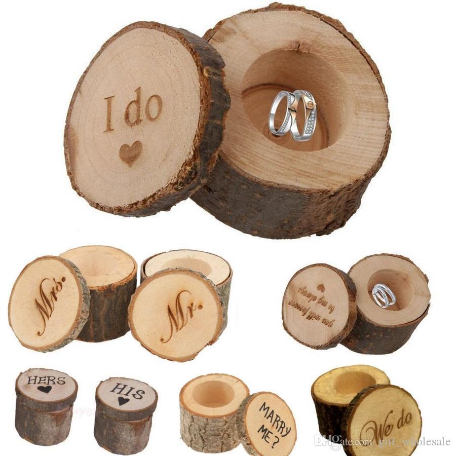2019 6 5 2cm 6 Styles Wedding Ring Box Rustic Shabby Chic Wooden Box