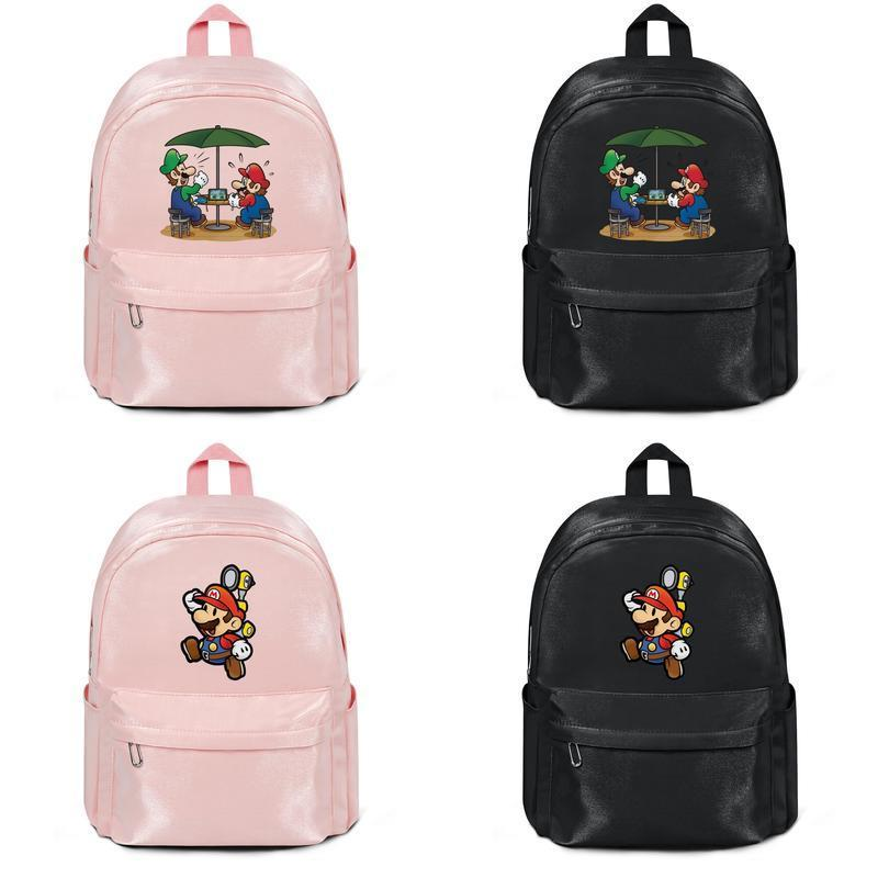 Super Mario Bros paly game Harajuku Women Men Water Resistant Black Canvas School Stylish Wip Backpack trendy Travel Male and Female Bag
