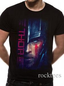 Thor Ragnarok Hemsworth Face Script Hulk Loki Marvel Licensed Black Mens  T-shirt