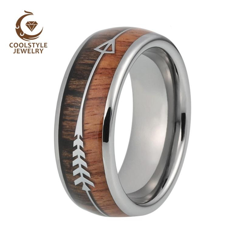 2019 8mm Mens Tungsten Carbide Rings Womens Wedding Bands Koa Wood