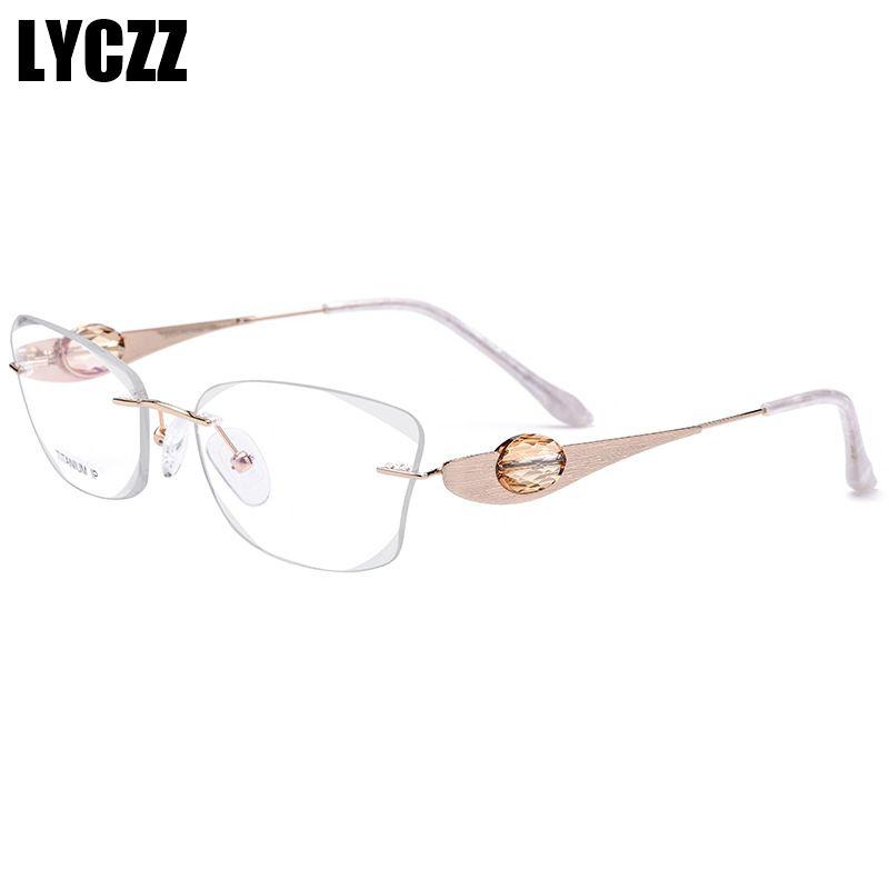 049db60023ee LYCZZ Fashion Female Diamond Crystal Trimmed Glasses Frame Titanium ...