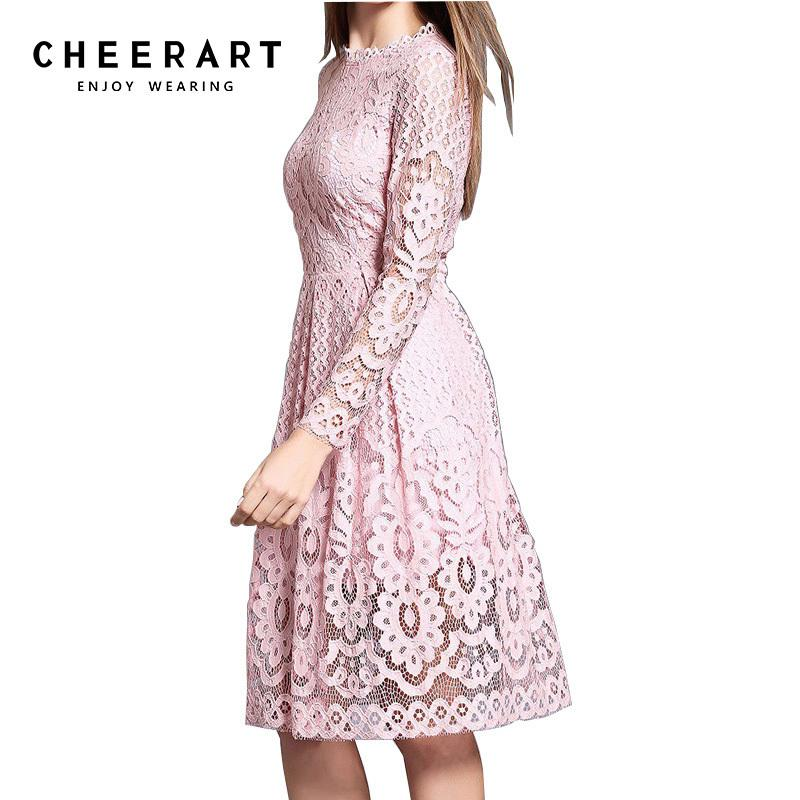 Cheerart High Quality Women Bohemian White Lace Autumn Crochet Casual Long Sleeve Plus Size Pink/white/black/red Dress Clothing Y19052901