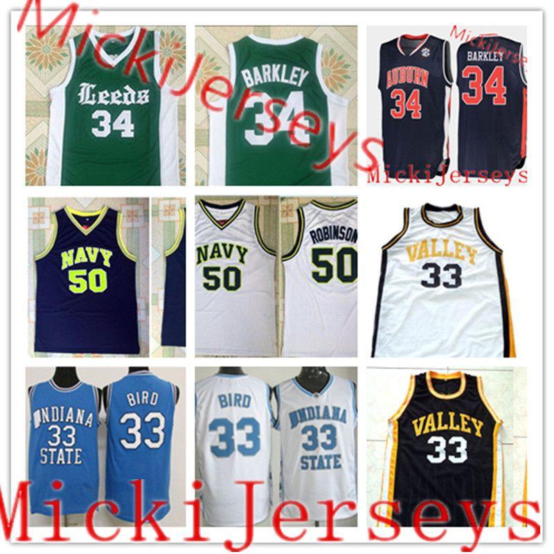 0e8d83bf 2019 Mens #34 Charles Barkley Auburn Leeds High School #33 Larry Bird  Indiana State Jersey #50 David Robinson NAVY High School Basketball Jersey  From ...