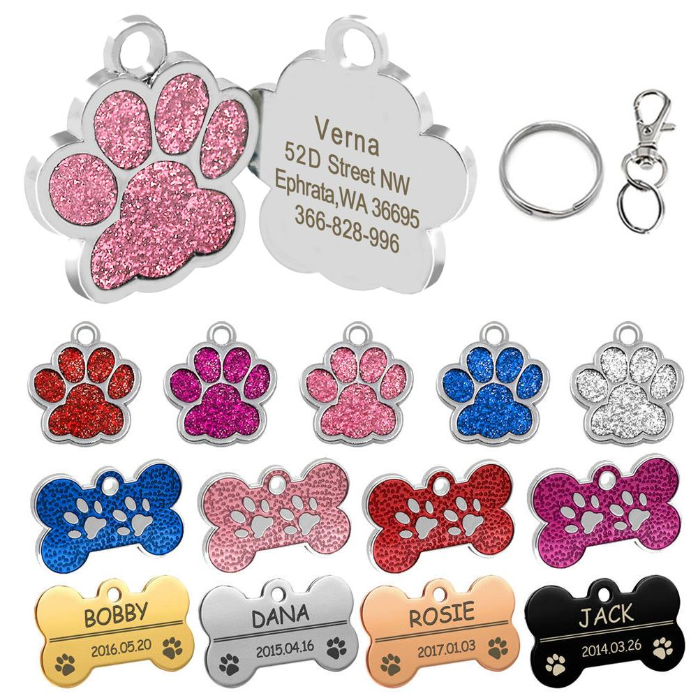 dcd7abd8a0b5 Personalized Dog Tags Engraved Cat Puppy Pet ID Name Collar Tag Pendant Pet  Accessories Bone/Glitter Service Dog Id Card Therapy Dog Id Card From  Hilery, ...
