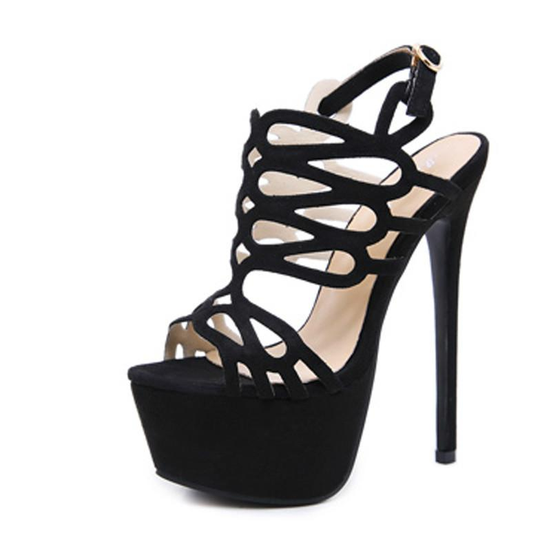 Compre Mujer Sandalias Bombas Zapatos De Fiesta Plataforma Bombas Zapatos  Tacones De Aguja Punta Abierta Ahuecar Tacones Altos Zapatos De Vestir  Negro A ... 0a0f201e592f