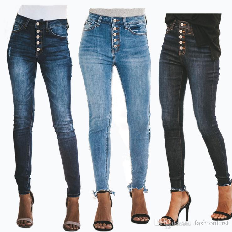 d649087cf Compre Novo Modelo 2019 Feminino Calça Jeans Moda Feminina De Cintura Alta  Jeans Primavera Denim Calça Com Buraco Calças Magras Mulheres Botão Calças  De ...