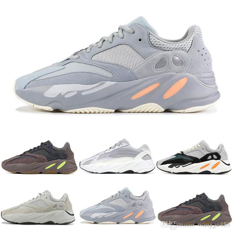 a6c9ba138d7cc INERTIA 700 Kanye West Wave Runner Static 3M Reflective Mauve Solid Grey  Sports Running Shoes Men Women Trainers Sneakers Shoes Size 36 46 Kids  Running ...