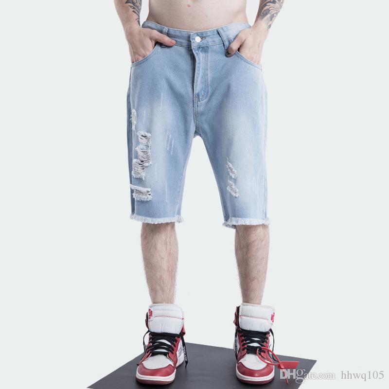 97e640c819 Compre Crazy2019 Summer Ripped Denim Short Para Hombre Slim Fit Hasta La  Rodilla Pantalones Jean Pantalones Vaqueros De Algodón Azul Claro Pantalones  Cortos ...