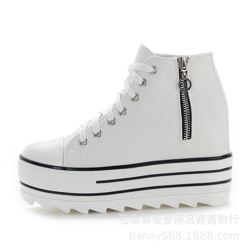 sports shoes d7e5c 2939c Scarpe con zeppa bianche Scarpe donna Sneaker Scarpe con plateau alte 2019  Scarpe da ginnastica alte Donne Tacco nascosto Scarpe con cerniera casual  ...