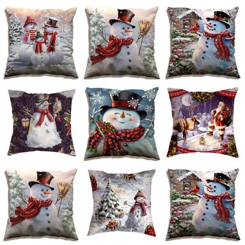 Christmas pillow Christmas Elk Cushion Pillow Snowman Pillowcase home Decorative home textile finished Pillowcase Case