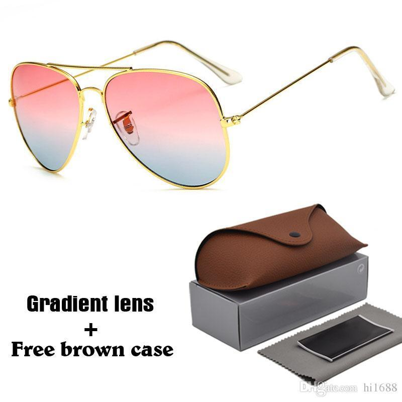 b233e450c85a4 Luxury Brand Classic Sunglasses Men Women Brand Designer Driving Glasses  UV400 Goggle Metal Frame Gradient Lenses with Free Brown Cases Online with  ...
