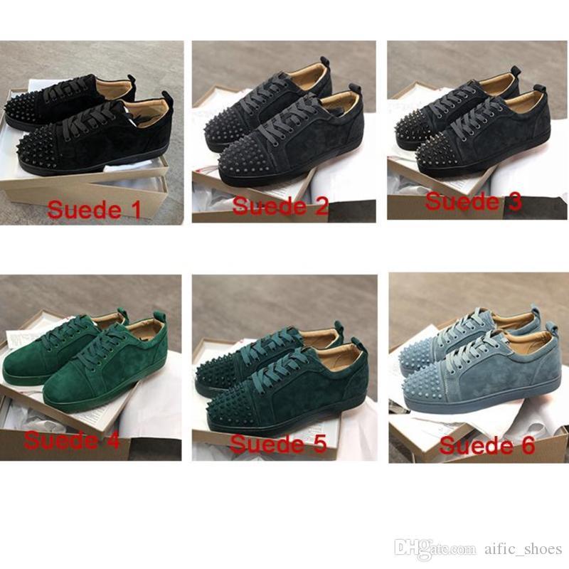 e80d28d022b2 With Box Designer Red Bottoms Shoes Unisex Men Women Low Cut Suede ...