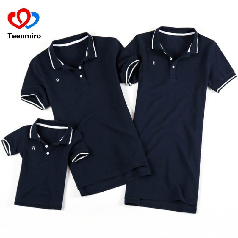 Summer Family Look Clothing Father Son Polo Shirts Matching Outfits Mother Daughter Dress Mommy And Me Clothes Short Sleeve Tops Y190523