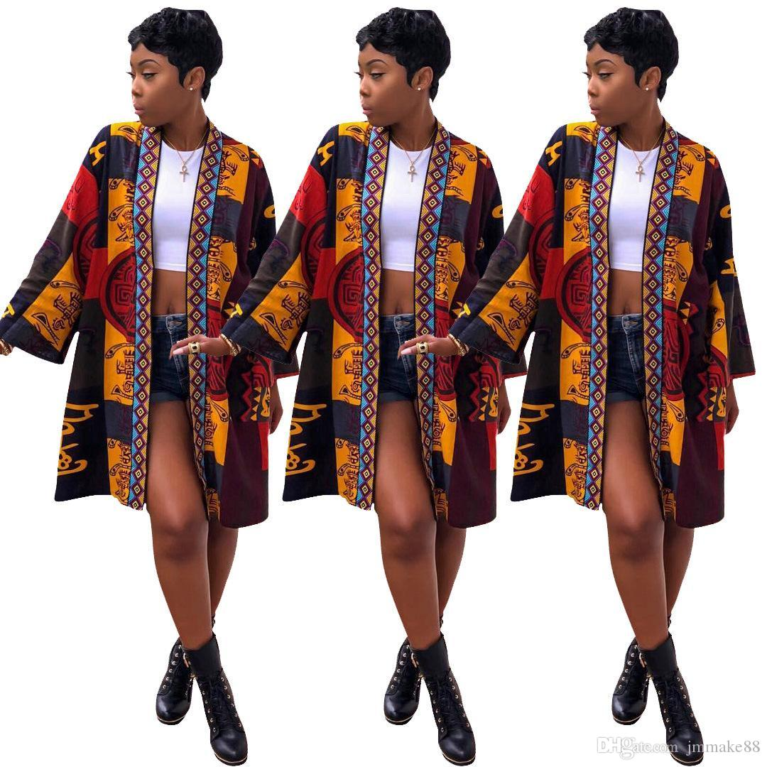 e764e7bb0f1 Women Clothes African Clothing Totems Printing Jacket Long Sleeves ...