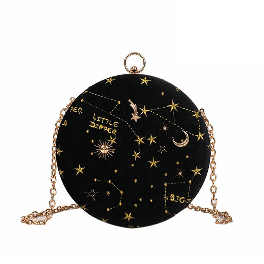 Fashion Embroidered Star Pattern Velour Round Shoulder Bag Casual Ladies  Chain Purse Handbag Crossbody Mini Messenger Bag Flap Branded Handbags  Ivanka Trump ...