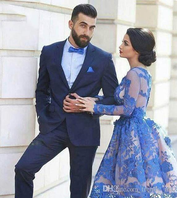 Elegant Navy Blue Groom Tuxedos Men Suits For Wedding Slim Fit Terno Masculino Best Man Party Prom Male Blazer Costume Homme