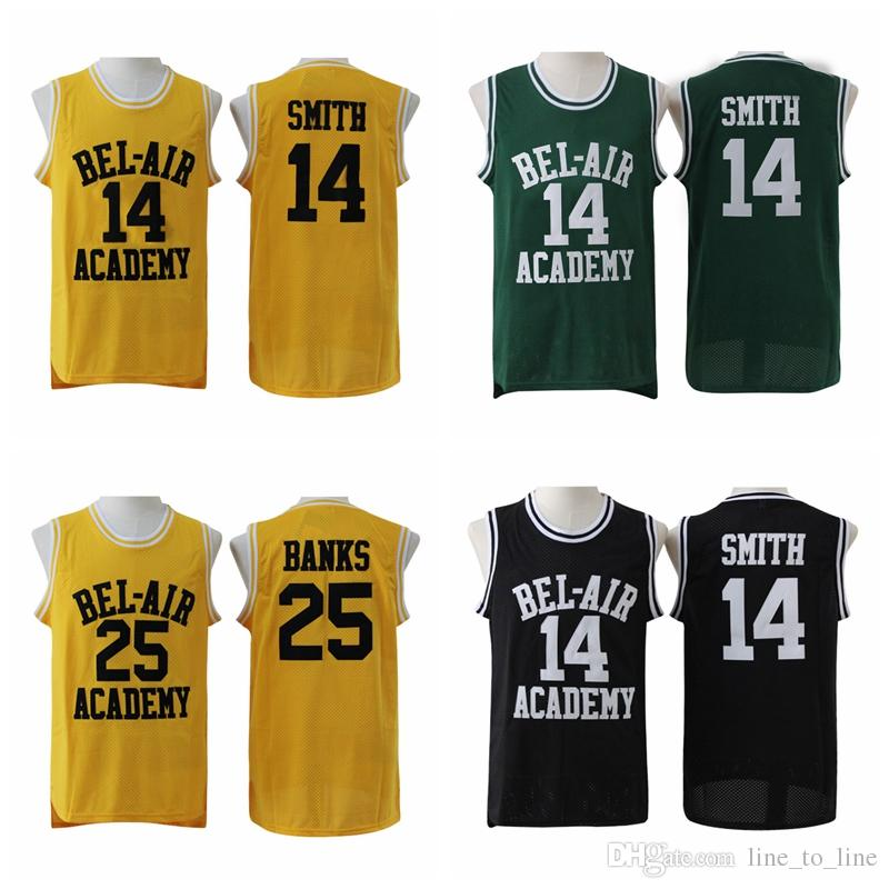 d19c83a2d1fc 2019 The Fresh Prince OF BEL AIR 14 Will Smith Jersey 25 Carlton Banks  Movie Stitched Yellow Black Green BEL AIR Basketball Jerseys College Sale  From ...