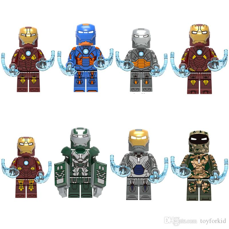 8 pcs Avengers Super-herói Homem de Ferro Tony Stark Mark 9 10 11 12 13 23 26 27 Mini Toy Figura Building Block