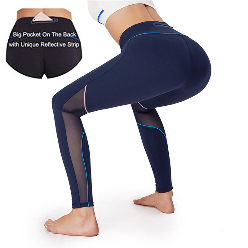 f34f7a45a8e6f Women High Waist Yoga Pants With Back Zip Pocket Tummy Control Workout  Running Yoga Leggings Mesh Athletic Pants Sport Leggings Canada 2019 From  Jaokui, ...