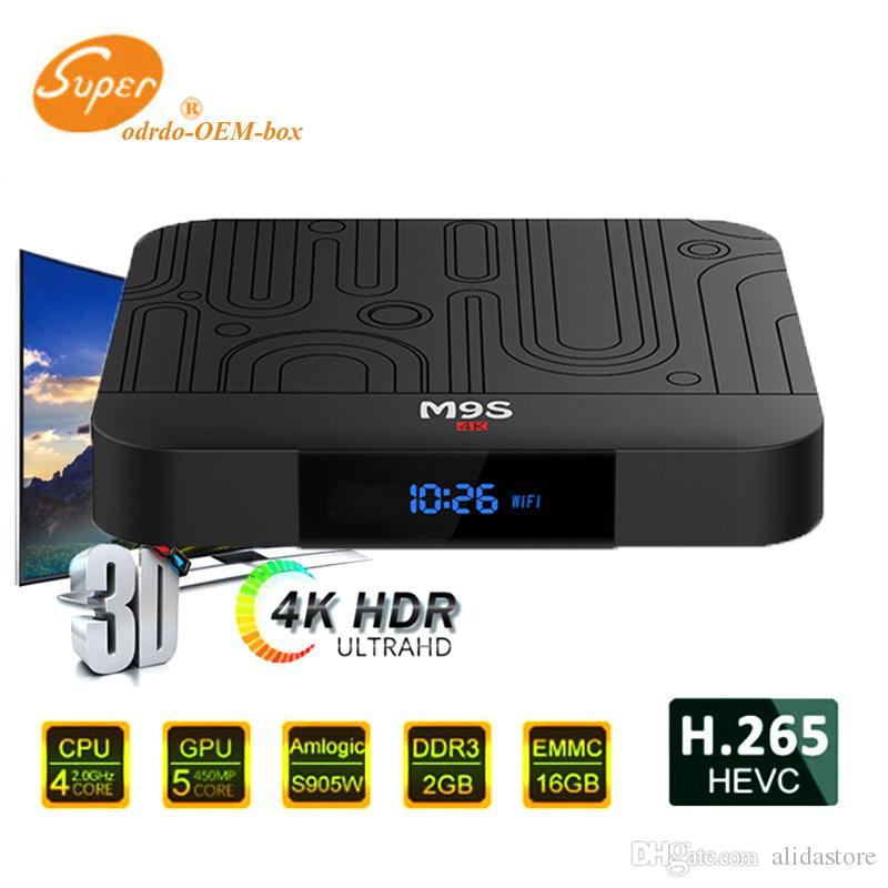 2019 M9S W1 Android 7.1 TV Box Amlogic S905W Core Core 2 Go de RAM 16 Go de ROM Android7.1 4K H.265 Streaming Media Player 2.4G Wifi avec écran