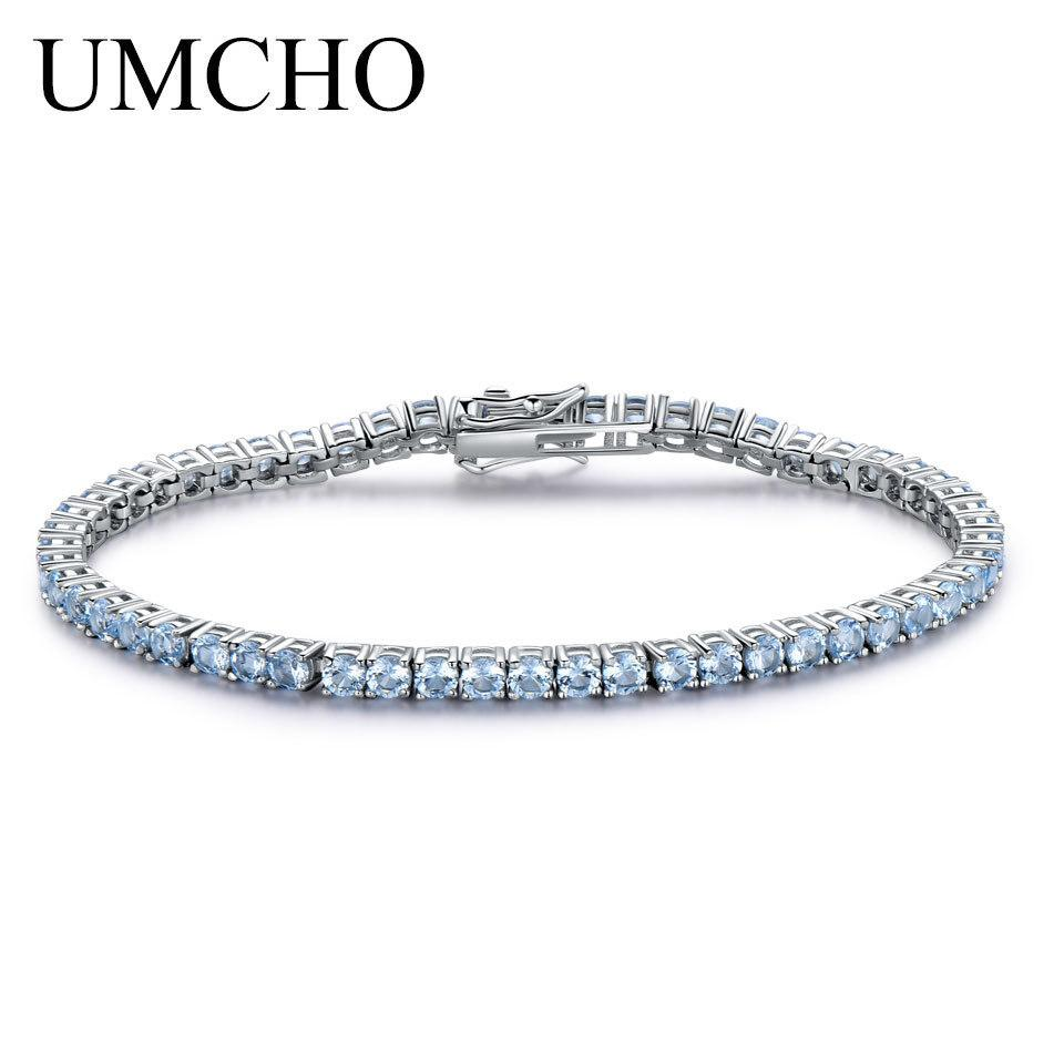 5999a2eef 2019 Umcho Solid 925 Sterling Silver Jewelry Created Sky Blue Topaz Bracelet  For Women Birthstone Girl Friend Gift Fine Jewelry From Haif3jewellery