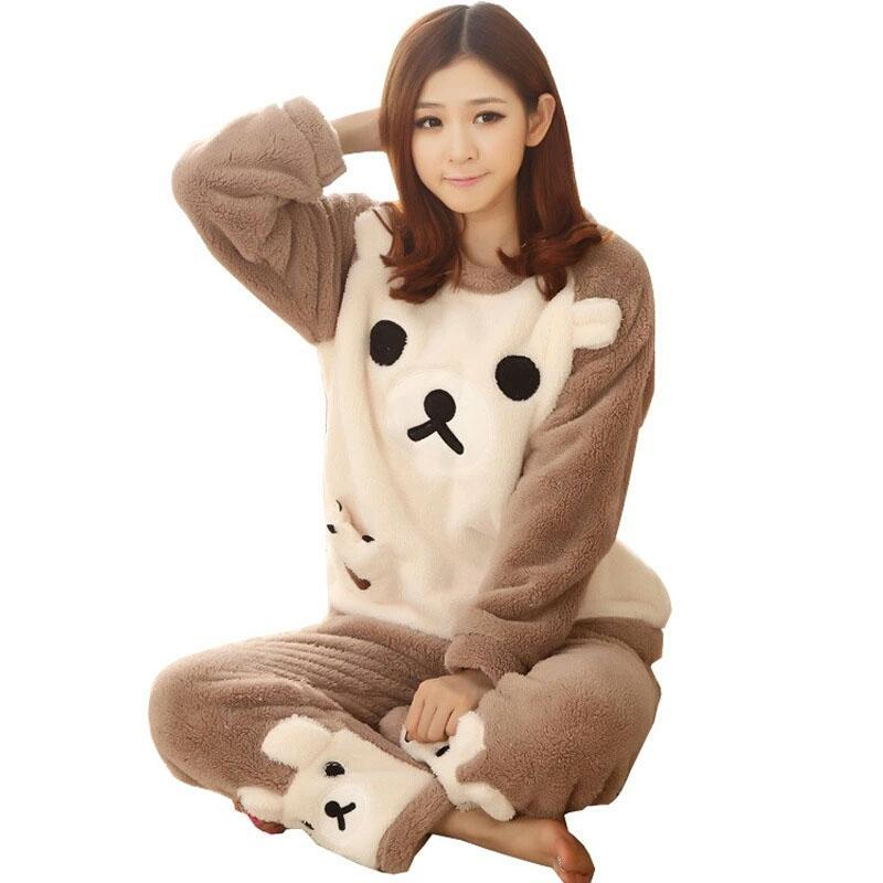 Women Pajamas Sets Coral Velvet Suit Flannel Cartoon Bear Animal Pants Autumn and Winter Thick Warm Long Sleeve Female Sleepwear