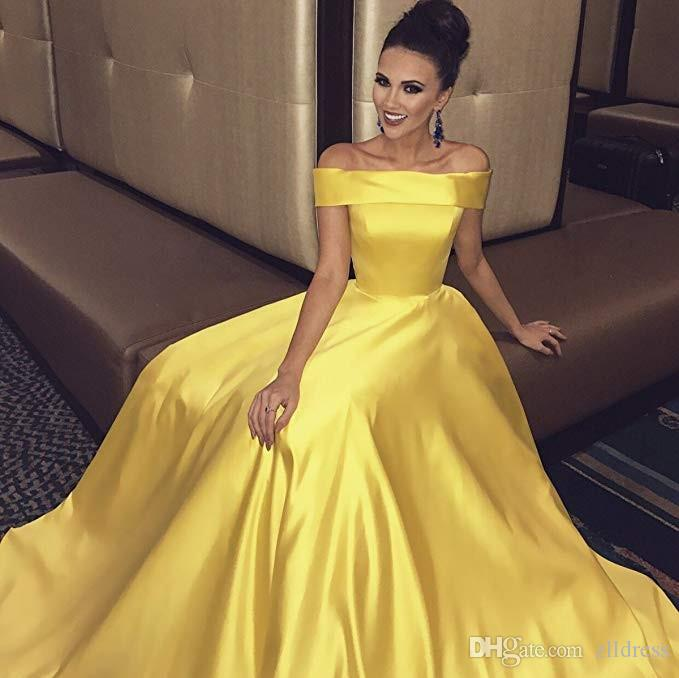 2fd3dd1a6a 2019 Formal Gold Prom Dresses Satin Off Shoulder A Line Simple Long Special  Occasion Evening Party Gowns Custom Made Vestido De Festa Short White Prom  ...