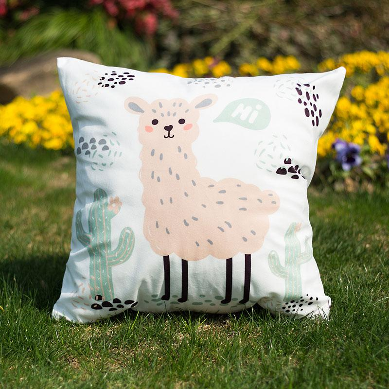 Leeiu 45*45cm Alpaca Llama Pillow Case Baby Shower Birthday Party Decoration Cartoon Cactus Cushion Cover Wedding Party Supplies