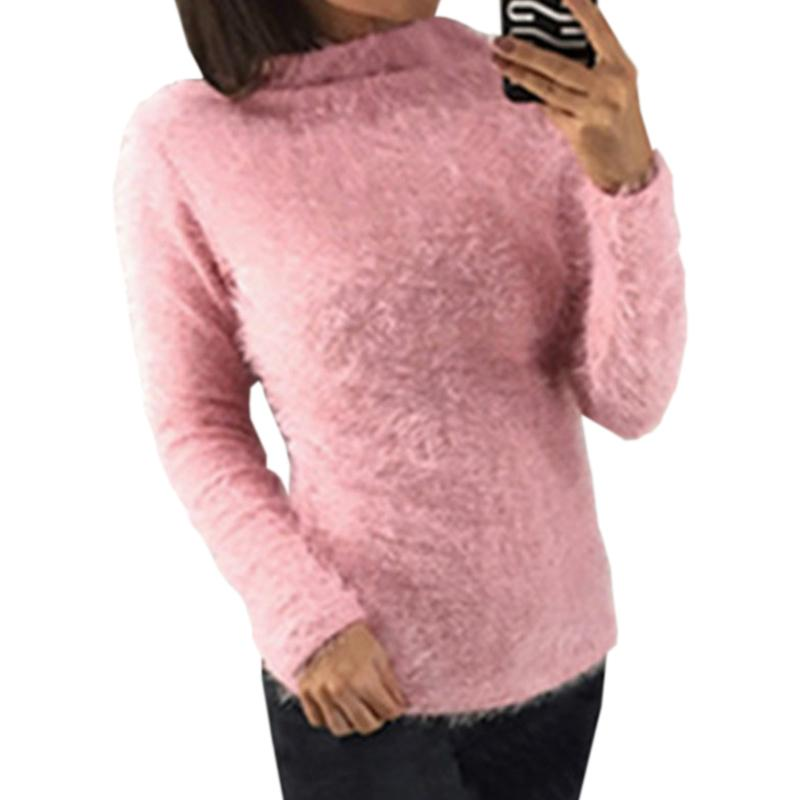 a5851b158b9c8 2019 Warm Fuzzy Turtleneck Knitted Women Sweater Top Autumn Winter Sweaters  Casual Pullovers Basic Long Sleeve Tops Plus Size GV190 From Jincaile01