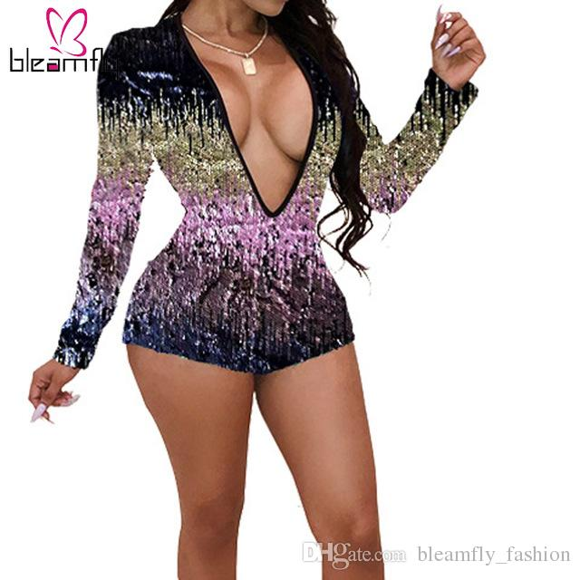 be8c7e3f744 Sexy Deep V-Neck Sequins Rompers Womens Jumpsuit Bodycon Long Sleeve ...