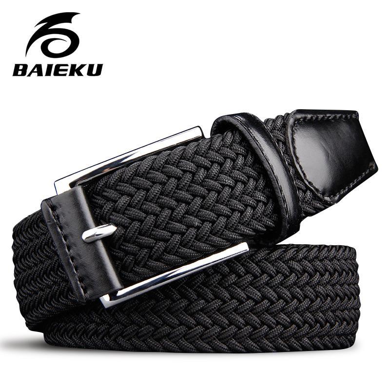 a0821408e41 Compre Cinturón Elástico Para Hombre Cinturones Elásticos Para Niños  Estiramiento Trenzado Hombre De Alta Calidad Moda 2018 Cinturón De Lona  Negro A  22.85 ...