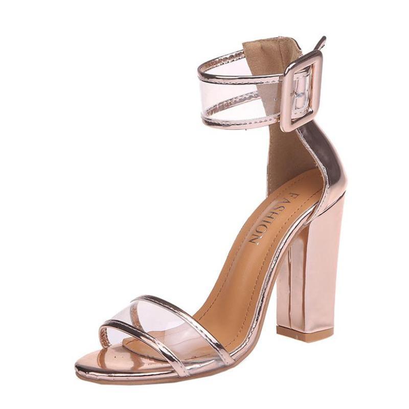d17db8c41c9 Compre Zapatos De Vestir Para Mujer Damas Bloque Sandalias De Tacón Alto  Plataformas De Tobillo Hebilla Tacones Altos Tacones Altos Mujer De 2019  Mujer ...