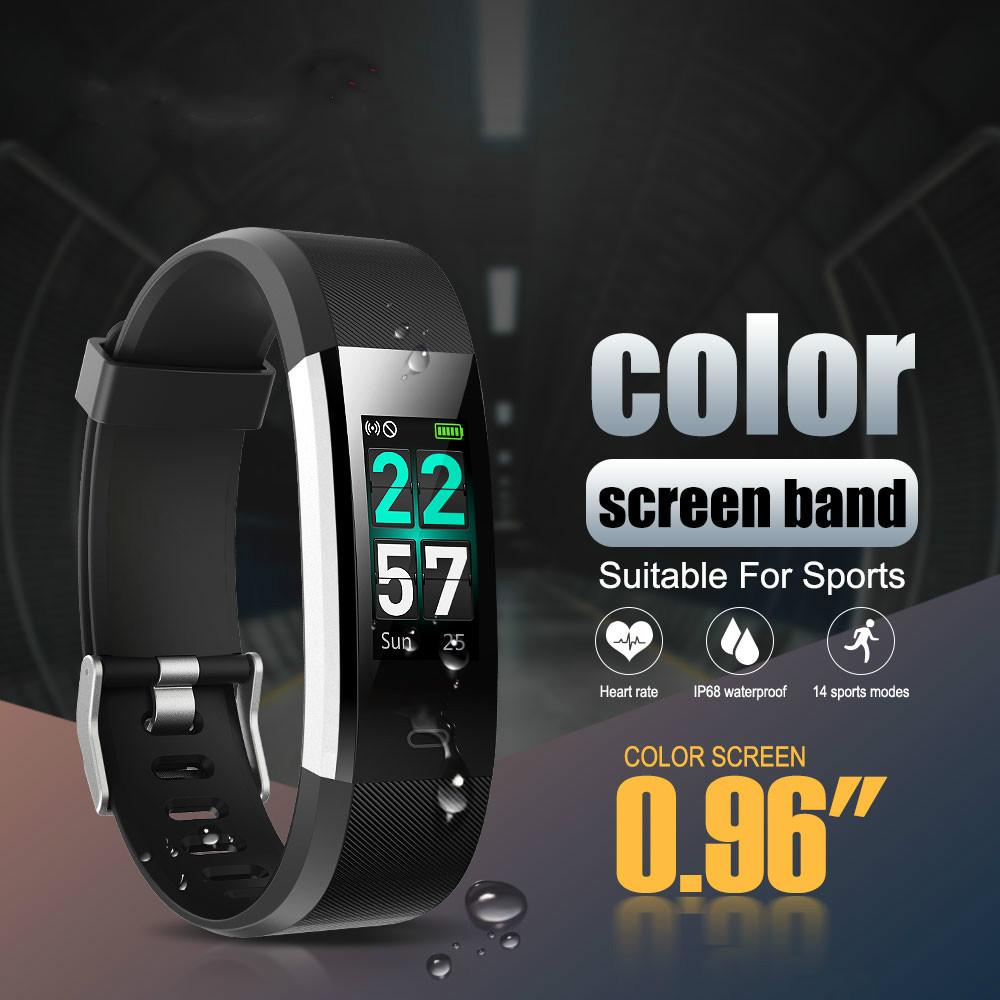 Veryfit ID115 Pro Color Ccreen Smart Band Yoga Cardio Heart Rate Monitor  Wristband IP68 Waterproof Ftness Tracker Bracelet