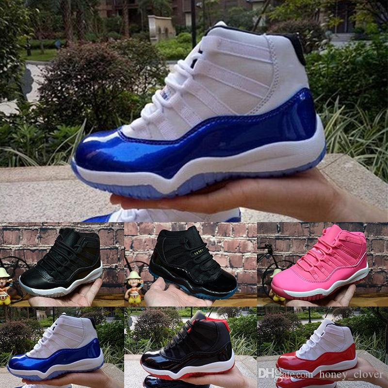 new product 03549 8307e Acquista Nike Air Jordan 11 2018 11 Scarpe Da Basket Basse Bambini Scarpe  Sportive Esterni Scarpe Da Ginnastica Bambini Gym Red Chicago Midnight Navy  Boy ...