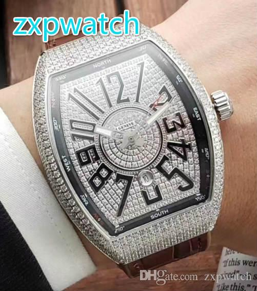 Full iced diamond men's watch all diamond barrel stainless steel silver and rose diamond automatic watch original buckle free shipping