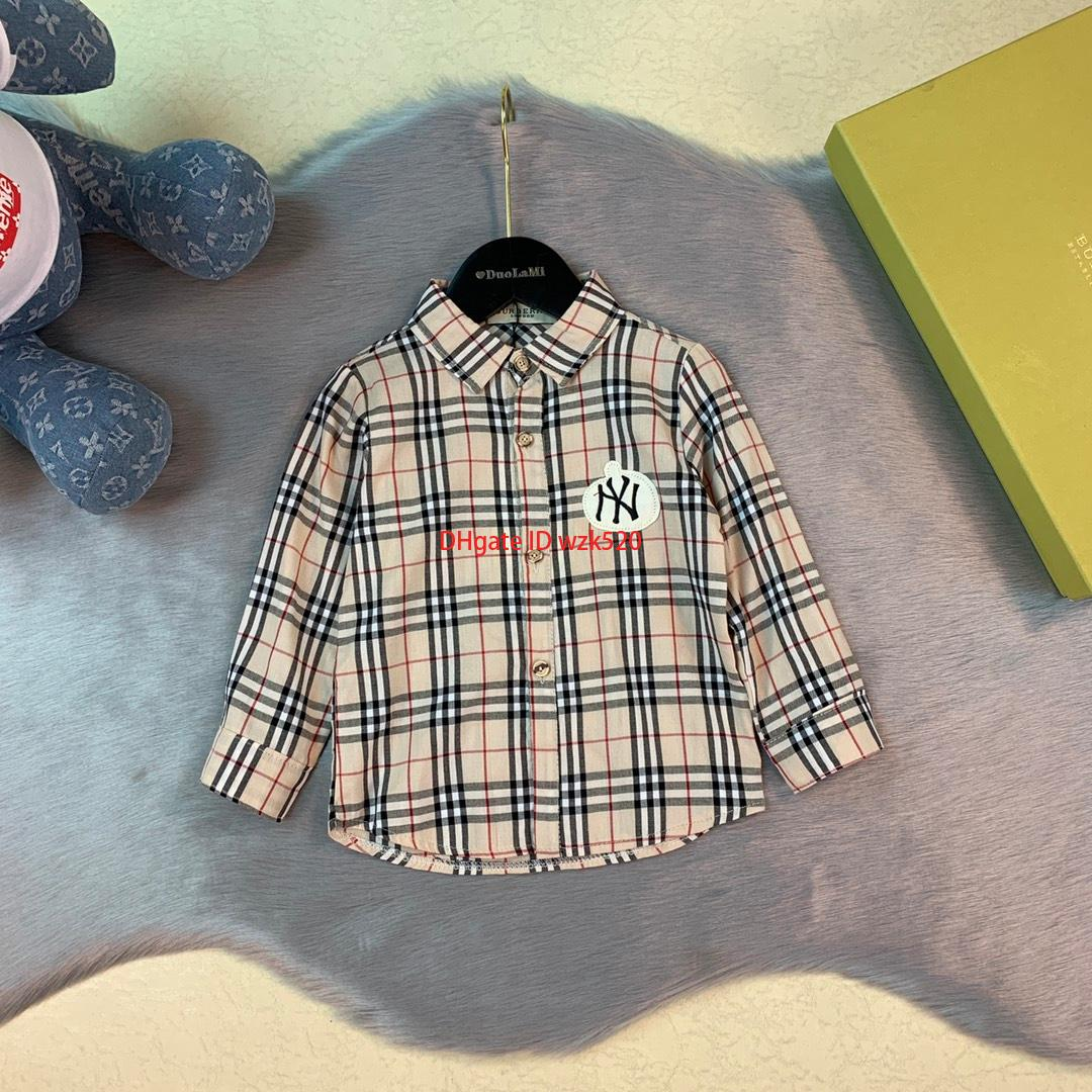 2019Children shirts kids designer clothing autumn boys and girls lapel shirts plaid long sleeve curved clothes cotton shirt