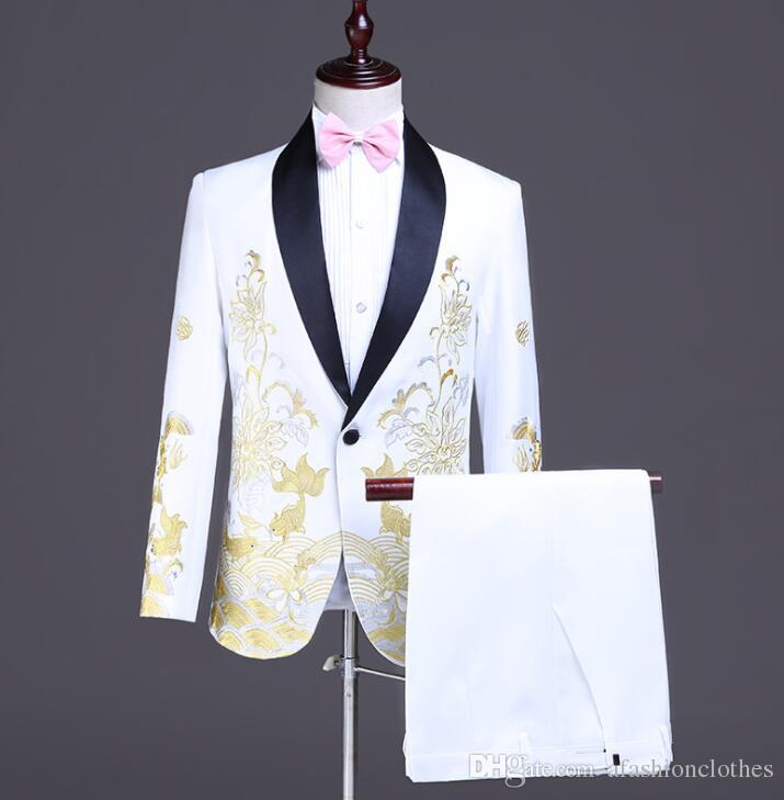 Anzüge Business Grau 2 Stücke Anzug Männer Einreiher Herren Hochzeit Kleid Anzüge Slim Fit Bühne Prom Bräutigam Sänger Kostüm Jacke Hosen 6xl