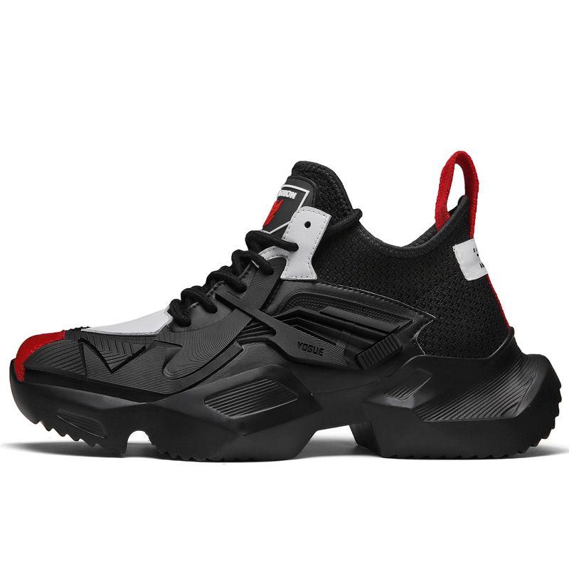 cd557a66841 Moda Vintage hombres Chunky zapatillas de deporte de Hip Hop zapatos  casuales con cordones gruesos pisos de plataforma zapatos de baile  callejero Tenis ...