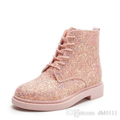 74d01ed5 Compre Primavera Mujer Botines Tacones Planos Lentejuelas Zapatos Mujer  Casual Botines Mujer Cordones Botines Negros Tallas Grandes 35 39 A $33.5  Del ...