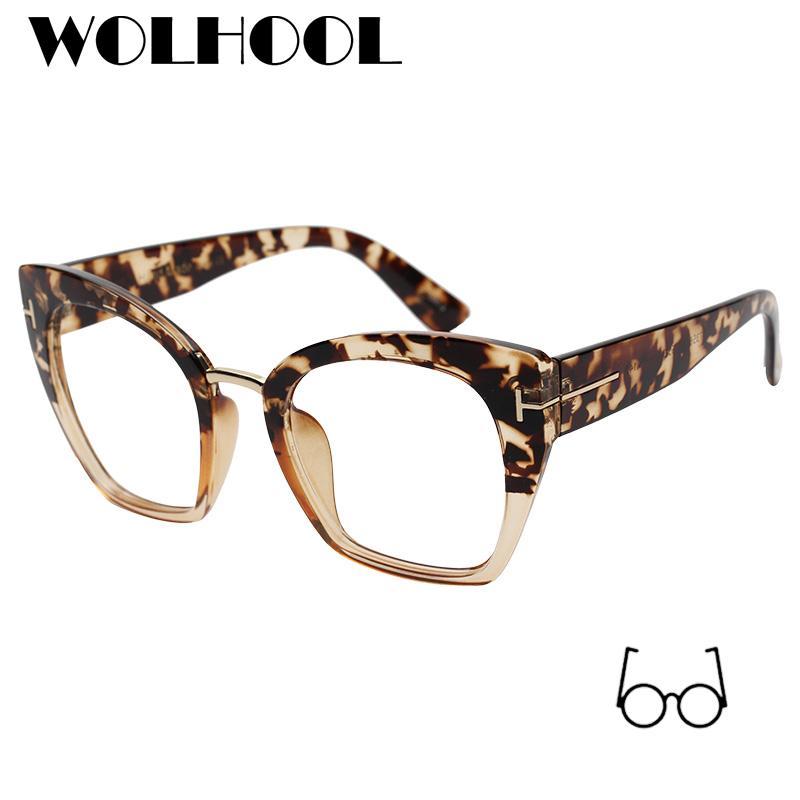 e6adc29a9d0 2019 Fashion Oversized Designer Leopard Lady Big Prescription Cat ...