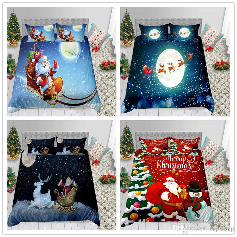 Twin Full Queen Size Comforter Cover Set Christmas Series for Child Bedding Set 2/3pcs with Pillowcase of Bedding Supplies