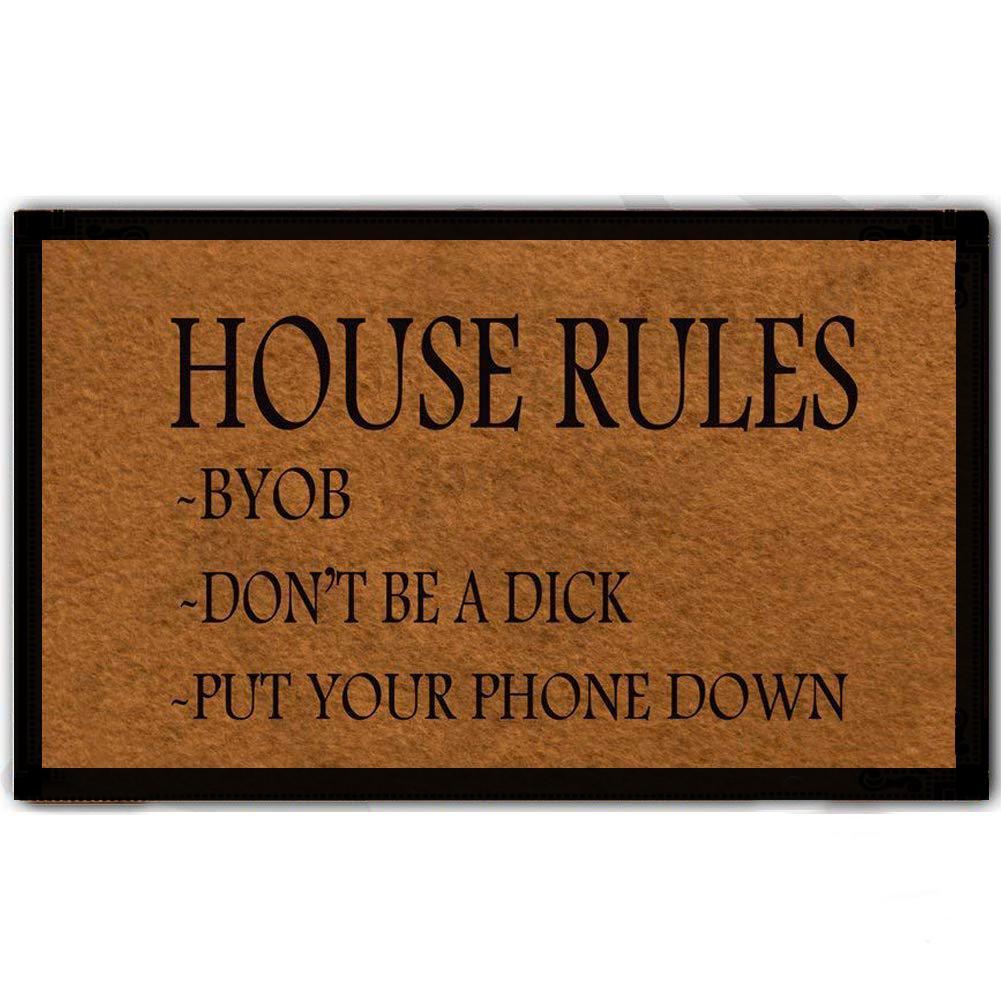 Custom Funny Entrance Doormat House Rules Indoor Outdoor Decoration Rubber  Non-slip Door Mat