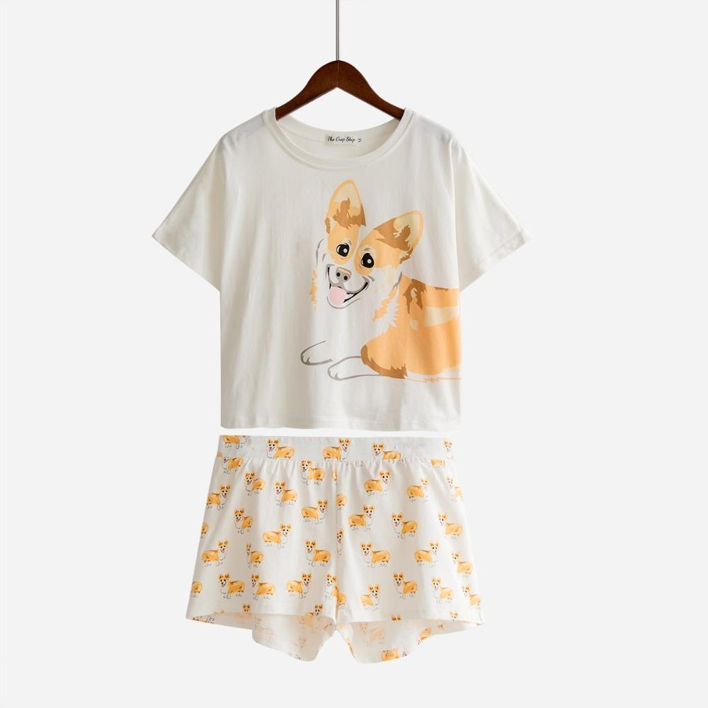 2ddb550f7783 2019 Dog Print Pajamas Women Sets Corgi Crop Top Elastic Waist Shorts  Nightwear Pijama Mujer S84601 B C19041601 From Shen8407