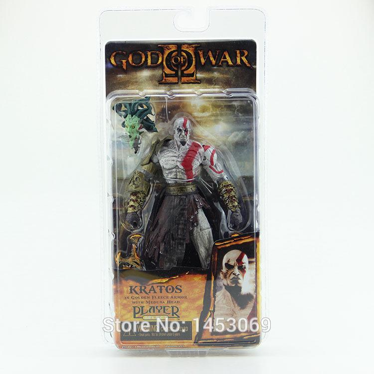 "God of War 1pcs 7 .5 ""Neca God of War Kratos In Golden Fleece Armor with Medusa Head Pvc Action Figure Collection Toy #Gow002"
