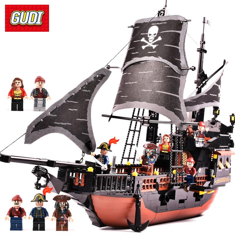 Gudi 652pcs Pirates Caribbean Black Pearl Ghost Ship Large Models Building Blocks Educational Birthday Gift Compatible Legoe MX190730